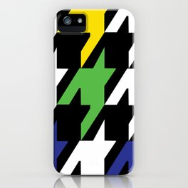 Jumbo Scale Masculine Colored Houndstooth Pattern iPhone Case