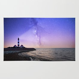 Lighthouse under the stars #photography Rug