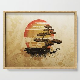 Bonsai Tree In The Sunset Serving Tray
