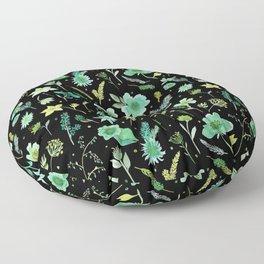 Verdant Flowers on Black Background Floor Pillow