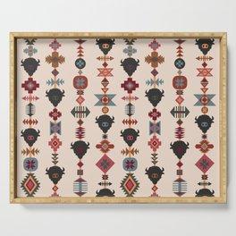 American Prairie Ethnic Tribal Seamless Pattern Serving Tray