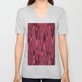 Zigzag Deep Pink Unisex V-Neck