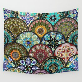 Colorful floral seamless pattern from circles with mandala in patchwork boho chic style Wall Tapestry