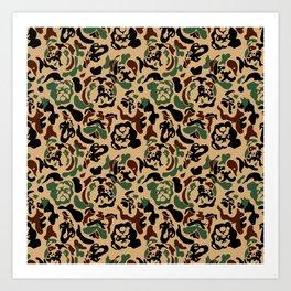 English Bulldog Camouflage Art Print