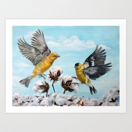 Golden Finches Picking Cotton Art Print
