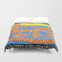 buddhism Duvet Covers featuring Buddhism words of Bodhisattva Avaloketeshvara painted and lettered by Sasso by ART to GO Sasso