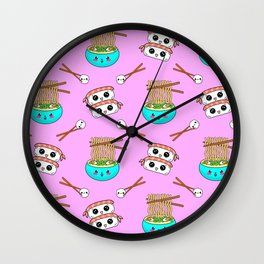 Cute funny Kawaii chibi little blue bowl ramen noodles, happy cheerful sushi with shrimp on top, rice balls and chopsticks light pastel pink pattern design. Nursery decor. Wall Clock