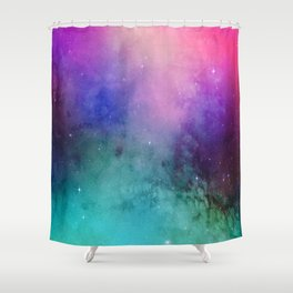 Mystical azure galaxy Shower Curtain