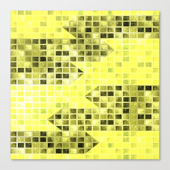 Abstract Yellow Arrows Pattern Canvas Print