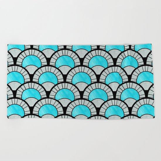 Aqua Art Deco Twenties Fan Pattern Beach Towel