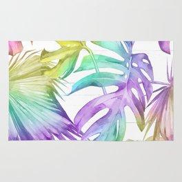 Tropical Rainbow Palm Leaves on Wood Rug
