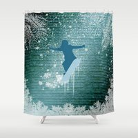 snowboard Shower Curtains featuring Snowboarding by nicky2342