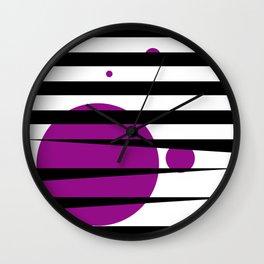 Pink purple stripes Wall Clock