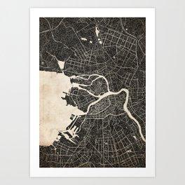 saint peterburg map ink lines 2  Art Print