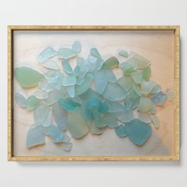 Ocean Hue Sea Glass Serving Tray