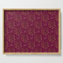 Gold Monstera on Purple Serving Tray