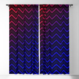 Chevron Pattern Black Red Blue Blackout Curtain
