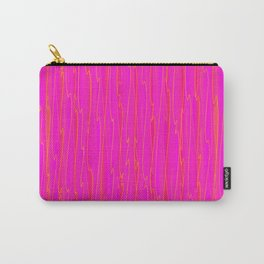 Vertical curved orange lines on a pink tree. Carry-All Pouch