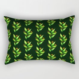 Abstract Watercolor Green Plant With Orange Berries Rectangular Pillow