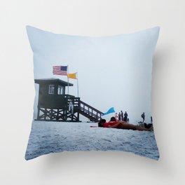 Moon life, day at siesta key beach, Florida. Throw Pillow
