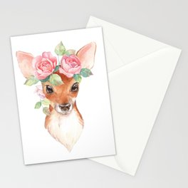 Watercolor Floral Fawn Stationery Cards