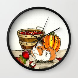 Autumn guinea pig with apples and pumpkin Wall Clock