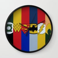 justice league Wall Clocks featuring Justice Logo's by iankingart