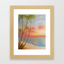 Paradise, Beautiful Beach, Peaceful Beach, Pastel Beach, Beach decor Framed Art Print