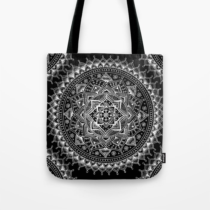 White Flower Mandala on Black Tote Bag