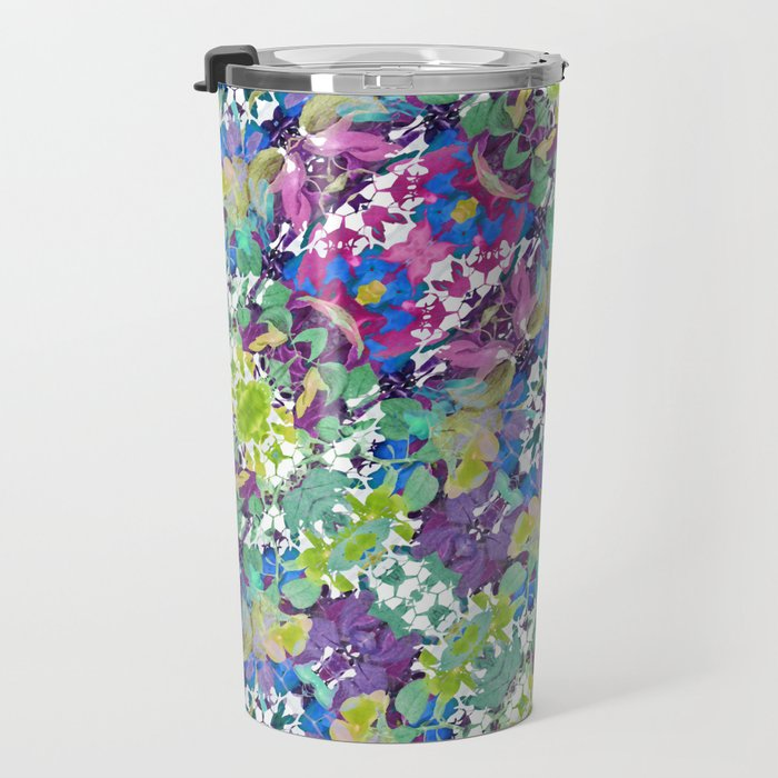 Colorful Modern Floral Print Travel Mug