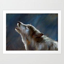 Howling Wolf (on Blue) Art Print