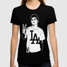 Panic on the streets of LA Black Womens Fitted Tee LARGE
