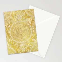 Medallion Pattern in Mustard and Cream Stationery Cards