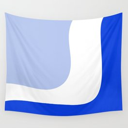 Triple Wave Minimalist Abstract Royal Blue Light Blue White Wall Tapestry