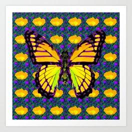 GOLDEN MONARCH BUTTERFLY YELLOW FLOWERS PATTERN Art Print