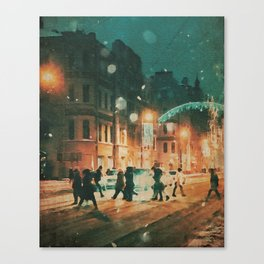 A Snowy Night in New York Watercolor Canvas Print