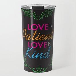 Love Is Heart Lettering Floral Design Travel Mug