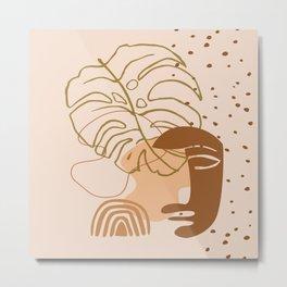 Monstera leaf african human face mask, tribal art print, rainbow dots shapes background, modern art Metal Print