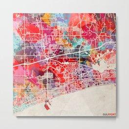 Gulfport map Mississippi MS Metal Print