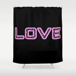 [Glittered Outline Effect Variant] Love's Simple [Black Background] Shower Curtain