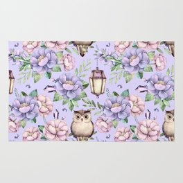 Hand painted blush pink lavender watercolor owl floral Rug