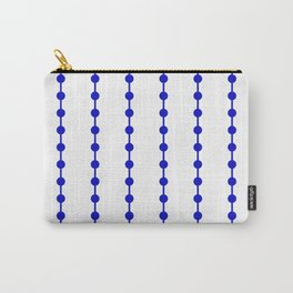Geometric Droplets Pattern Linked - Navy Blue on White Carry-All Pouch