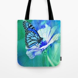 Butterfly, Flower And Leaves Tote Bag