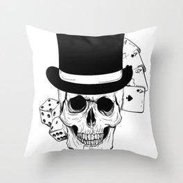 Skull and Dice, skull art, custom gift design Throw Pillow