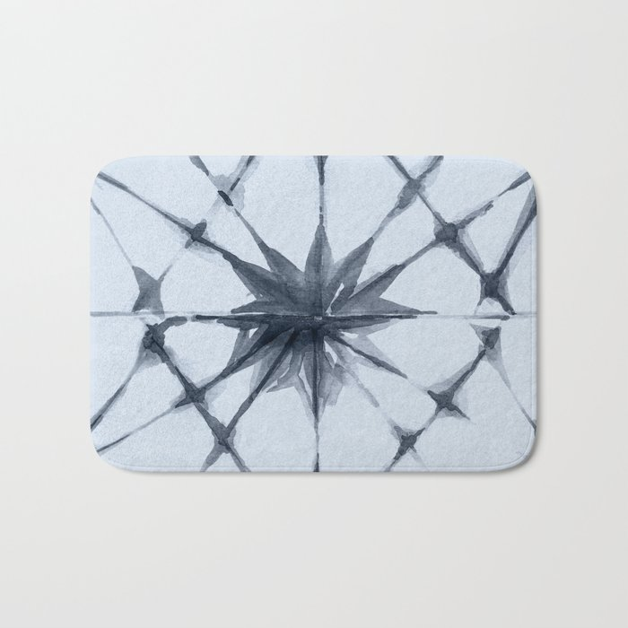 Shibori Starburst Indigo Blue on Sky Blue Bath Mat