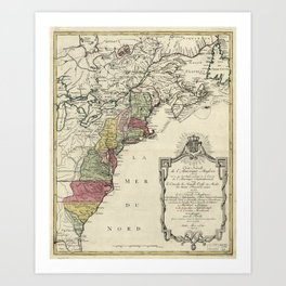 Colonial America Map by Matthaus Lotter (1776) Art Print