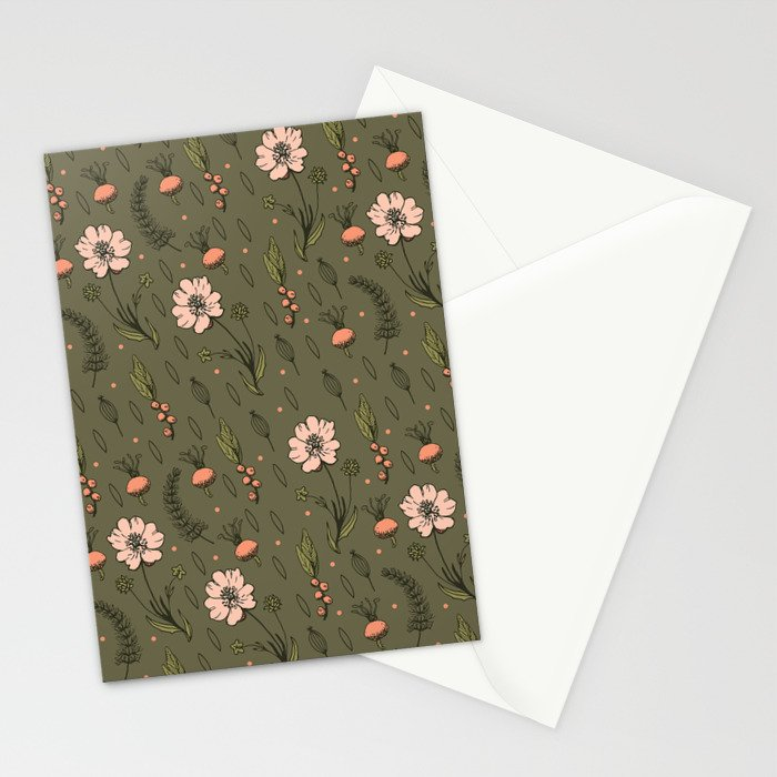 Vintage Kaki Floral Pattern Stationery Cards