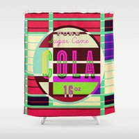 cocaine Shower Curtains featuring Cola - Vintage Soft Drink by Fernando Vieira