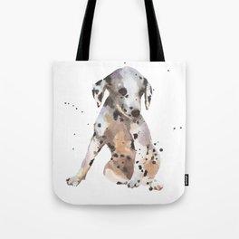 dalmatian, dalmatian puppy, dalmatian painting, cute puppy,  Tote Bag