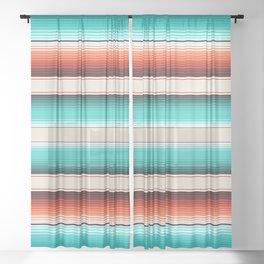 Navajo White, Turquoise and Burnt Orange Southwest Serape Blanket Stripes Sheer Curtain